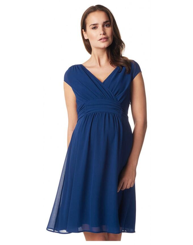 Damen Umstands- Kleid Gerafftes Taillenband Dress Farbe: Medium Blue - blau