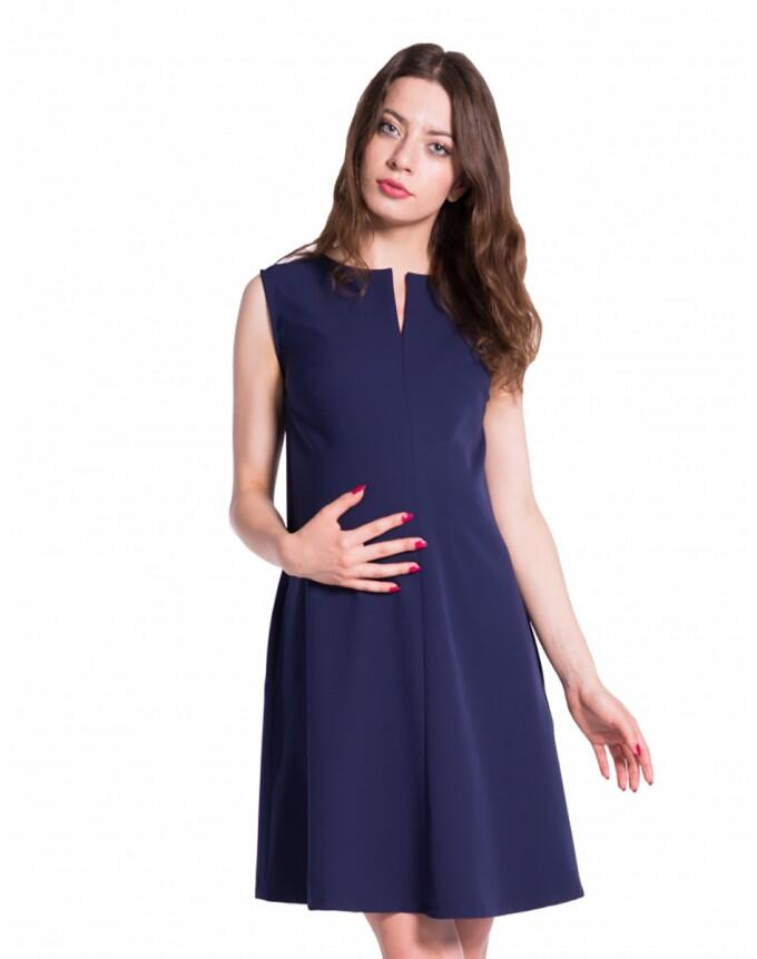 Nitis Damen Umstands- Kleid Gerafftes Taillenband Dress - blau