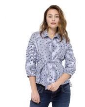 a24cecabf94989 Supermom T-shirt Mesh Sportswear kurze Kleid S0731 - schwarz · Queen Mum  Blouse with belt 3/4 slv - blau