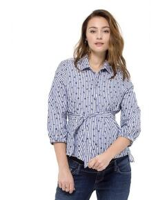 Queen Mum Blouse with belt 3/4 slv - blau