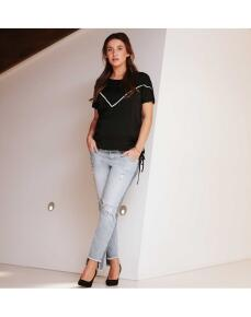 Supermom Relaxed Jeans Boyfriend 7/8 Umstandsjeans S0745 - blau
